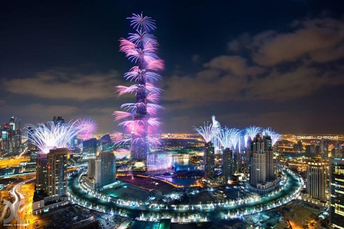 ОАЭ, Празднование Нового года у башни Бурдж-Халифа