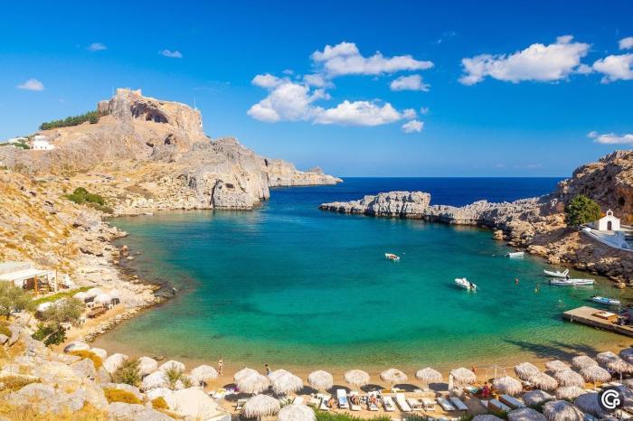 Погода на Родосе в июле - Пляж Агиос Павлос Линдос на Родосе