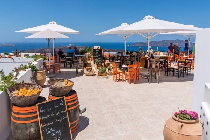 Санторини, Кафе в Санторини