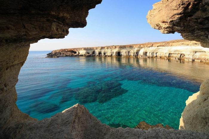 Кипр, посмотрите на морские пещеры-гроты